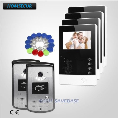 HOMSECUR Hand-Free Color IP54 4.3 Video Door Entry Phone Call System with One Button Unlock for Home Security 2V4HOMSECUR Hand-Free Color IP54 4.3 Video Door Entry Phone Call System with One Button Unlock for Home Security 2V4