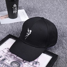 34a4d4e540d2a4 Korean fashion men and women baseball hat embroidery personality Angel  wings bend eaves street casual cap