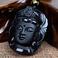 Занавес шарика Природные Обсидиана Скраб Черный Кулон Гуаньинь Глава Подвески Перегружается Головы Будды