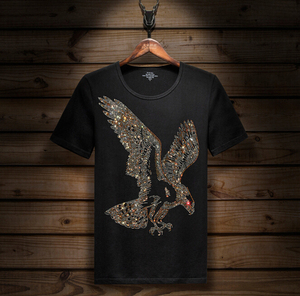 Image 1 - 半袖 Tシャツライクラ綿弾性 tシャツメンズファッション夏の半袖底 tシャツ