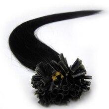 """Zzhair 100% 16 """"-24"""" бразильский Пряди человеческих волос для наращивания Capsule Кератин ногтей Подсказка волос Fusion 40 г 50 г 60 г 70 г-remy"""