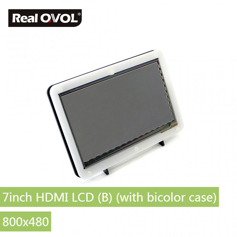 RealQvol 7inch HDMI LCD (B) (with bicolor case) Capacitive touch control Supports Raspberry Pi Banana Pi BB Black parts raspberry pi lcd 5inch hdmi lcd b with bicolor case 800 480 touch screen supports all raspberry pi 3 b banana pi pro