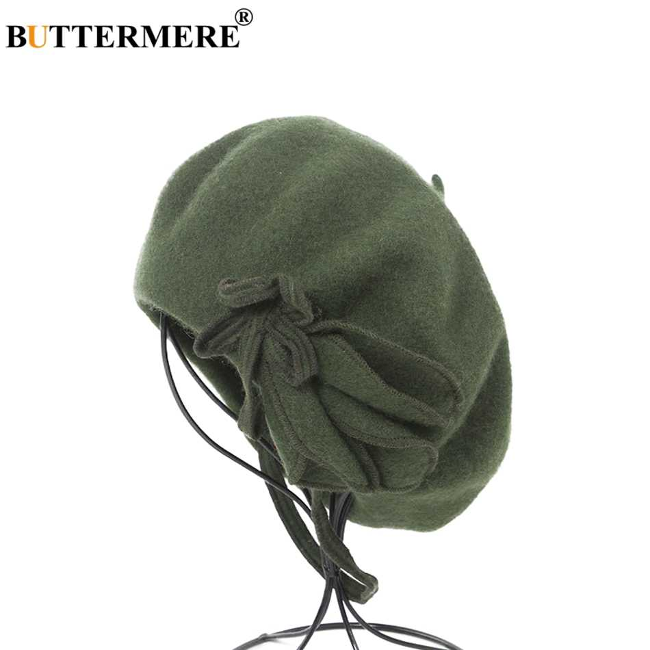 BUTTERMERE Wool French Beret For Women Green Elegant Painters Hats Ladies Solid Bowknot Female Beret Autumn Winter Artist Cap