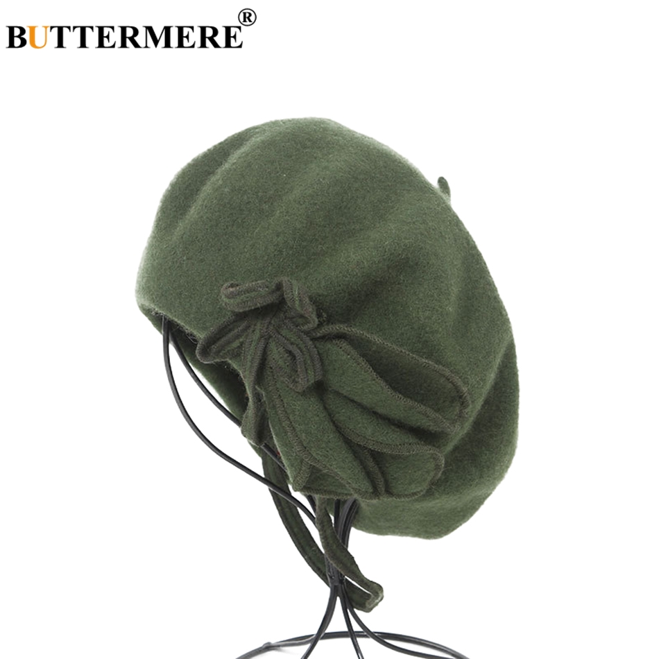 BUTTERMERE Wool French Beret For Women Green Elegant Painters Hats Ladies Solid Bowknot Casual Female Autumn Winter Artist Cap