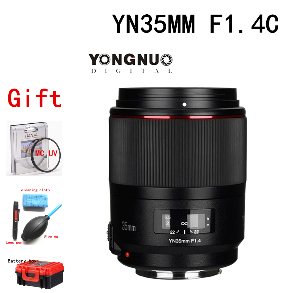 YONGNUO YN35MM F1.4 Lens Standard Wide Angle Lens with Cloth for Canon DSLR Camera Lens w/Cleaning for 700D 80D 7D 5DII 5D3 6D