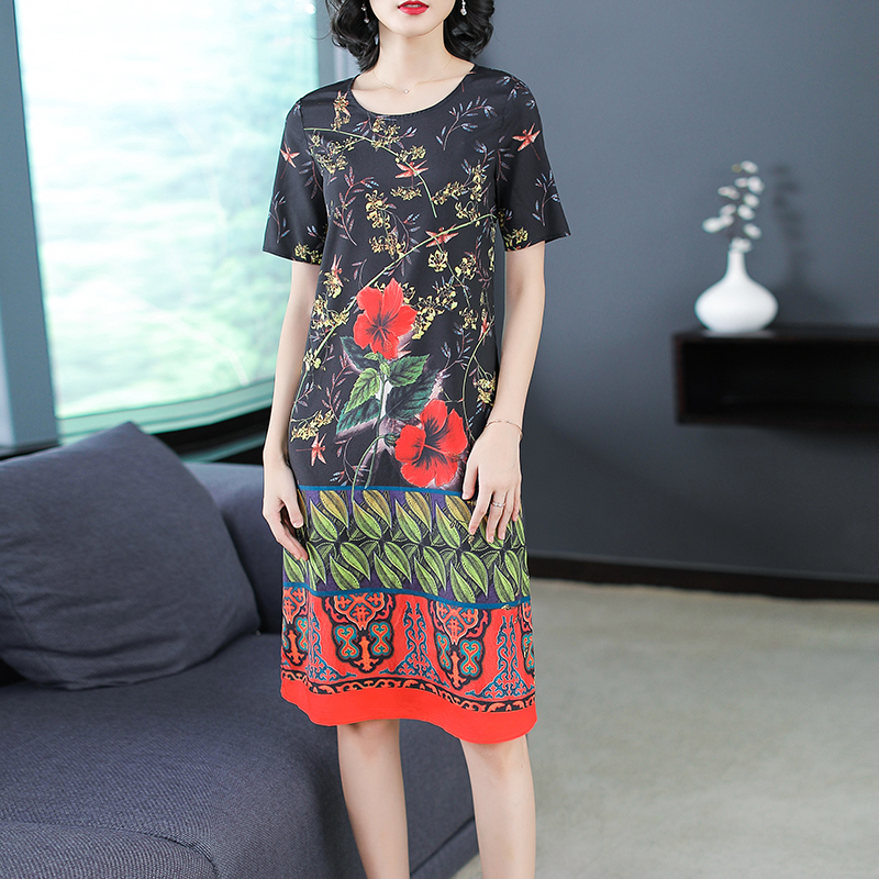 Ethnic Style Straight Dress Floral Printed Black Womens Desses Short-sleeved Thin Robes Hot Sale Autyumn Gown Elegant Vestido