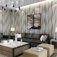 Beibehang Simple Modern 3D Stereo Wave Pattern Wallpaper Bedroom Living Room TV Background Wall Curve Striped