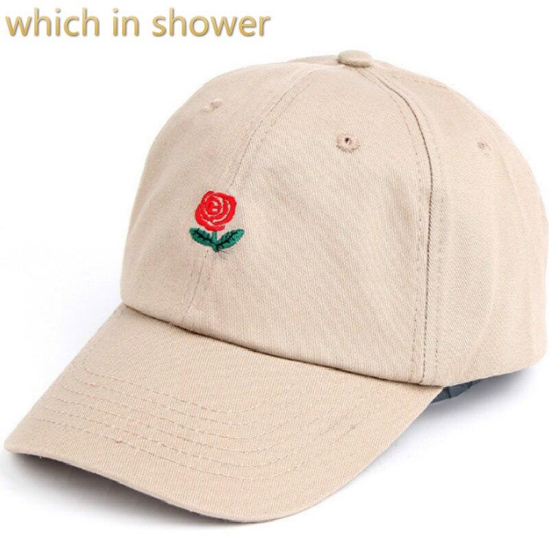 Die in dusche baumwolle rose dad hut für frauen männer einstellbar blume baseballmütze stickerei hysteresenhut gebogene sommer sonnenhut