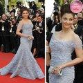 Festival de cine de Cannes Aishwarya Rai Portrain cuello Cap mangas moldeado brillante pétalos sirena acentuado Red Carpet Celebrity Dresses