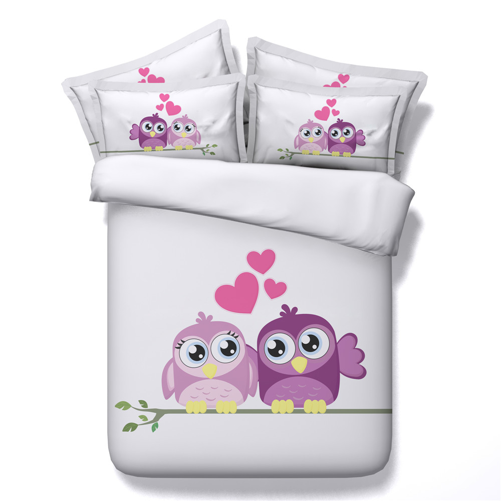 yeeKin New Design Animal Series Cotton Bedding Sets 3/4pcs 3D Printed Super Cute Rabbit/Cats/Cartoon Owl Quilt/Duvet Cover - 3
