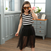 Girl Suit New Pattern Korean Sleeveless Dress Children's Garment Summer Children Stripe 2 Pieces Kids Clothing Sets