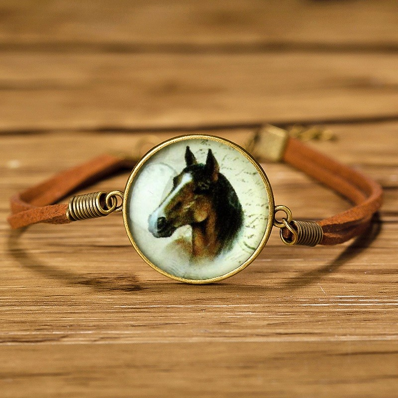 Caxybb Glass Leather rope Bracelets Bracelet Animal Horse Cat Deer Bracelet Fashion Jewelry For Women Cute Jewellery B-L20