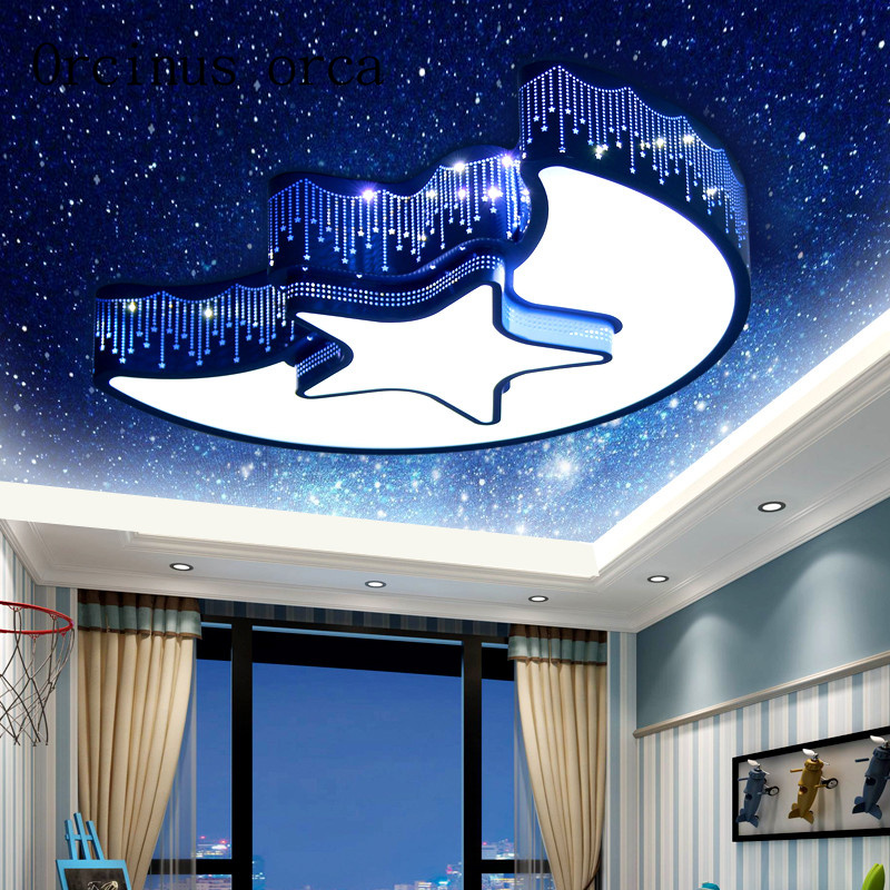 Cartoon creative stars moon LED ceiling lamps men and women bedroom lights eye protection lovely childrens room lights