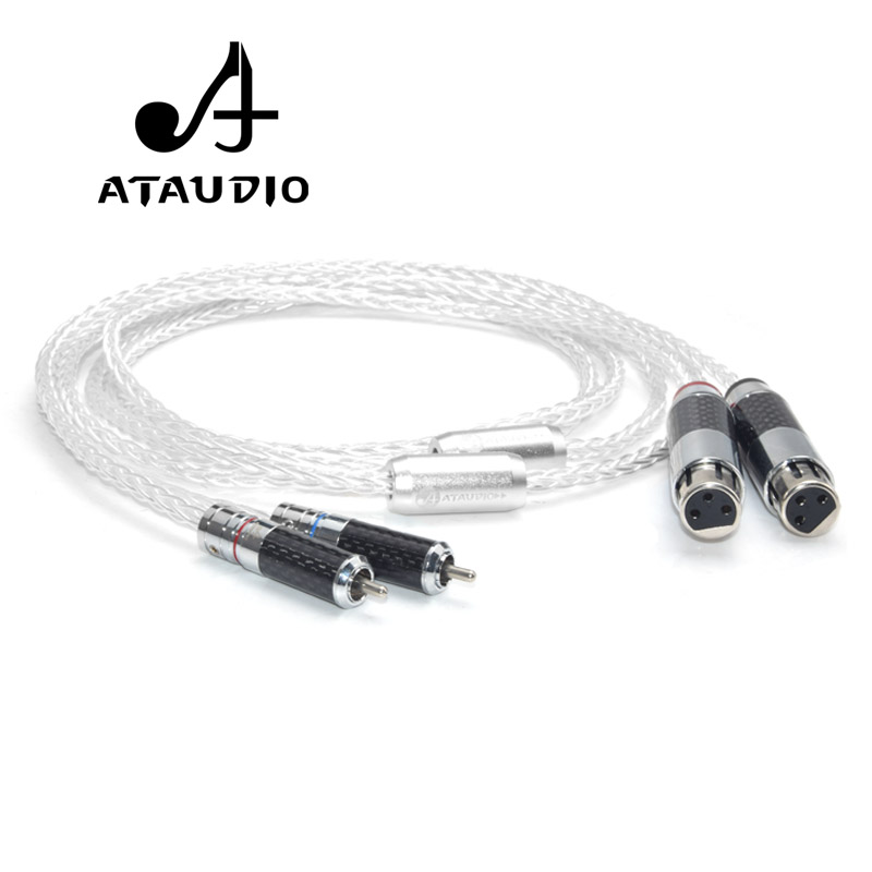 ATAUDIO Hifi Silver plated RCA to XLR Female Cable Hi end 3 Pin 2 XLR Female to 2 RCA Male Interconnect Cable