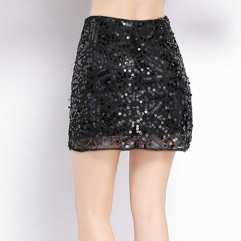 nouveau produit a6fcd 1d51f Sexy Women Mini Beaded Sequin Skirt Jupe Falda Solid Paisley Casual Bodycon  Pencil Skirt Shiny Party Club Short Sequined Skirt