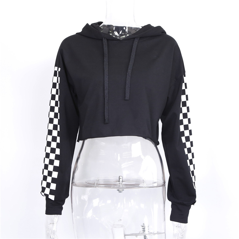 f090b4802108c4 Aliexpress.com : Buy Women Cropped Hoodies Loose Punk Hooded Hoodie Black  white grid Long Sleeve Stylish Crop Top Autumn Sweatshirt Short Pullover  from ...
