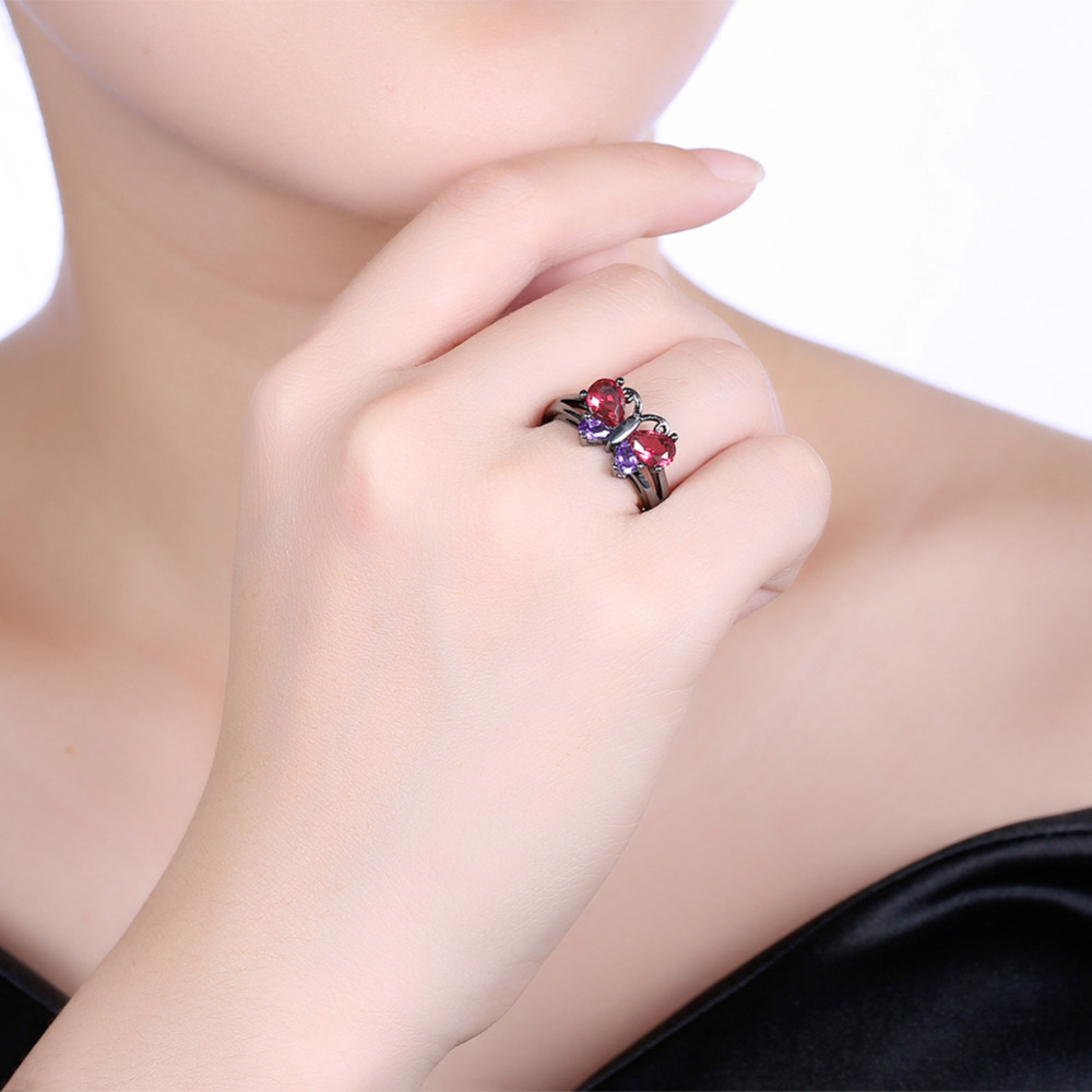 Charms Rings For Women Black Gold Filled Butterfly High Quality ...