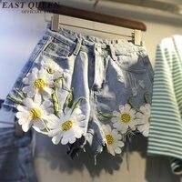 2017 chic denim shorts female cheap jean shorts floral embroidery vintage hot shorts classic womens summer short jeans KK339 Q