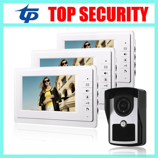 7 inch video door phone door bell system IP64 waterproof IR camera video door bell intercom access control system 7 inch password id card video door phone home access control system wired video intercome door bell