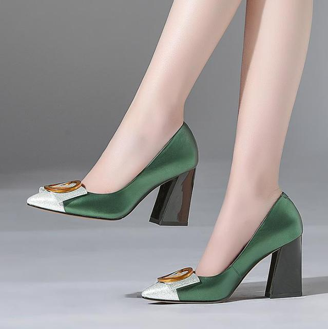 fc08dc15b9a 2018 spring and summer new leather women s shoes pointed thick with high  heels metal buckle color matching four seasons shallow