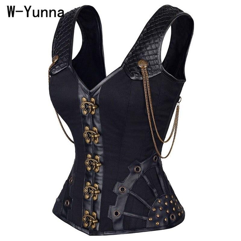 W-Yunna Steampunk corsé de cuero corsajes Sexy Corsage Corzzet acero camisa de fuerza corpiño desecho entrenador cuello Top