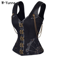 W Yunna Steampunk Corset Leather Corset Corsages Sexy Corsage Corzzet Steel Straitjacket Bodice Waste Trainer Collared Top