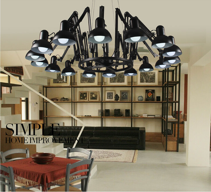 Modern 9/16 Head Pendant Light Brief iron Personalized Retractable Spider Art Black Lampshade Home Decor Lamps 110-240V Fixtures