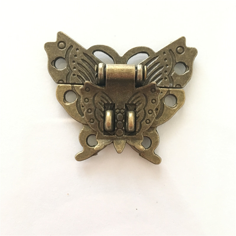 Butterfly Buckle Hasp Wooden Wine Box With Lock Buckle Antique Padlock Hardware Zinc