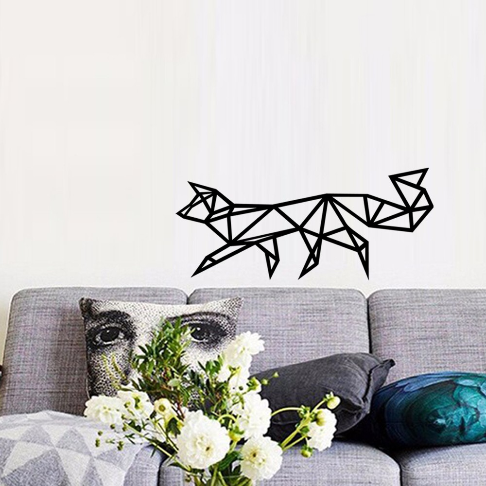 Baby wall decals geometric fox wall sticker for home decor black baby wall decals geometric fox wall sticker for home decor black white wall decals 3d vinyl wall adesivo de parede d635 mural in wall stickers from home amipublicfo Gallery