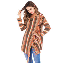 Winter Lady Women fashion fringe sweater coat Orange Stripes Poncho Fall Tassels Slash Gradient Shawl Hem Loose Sweater 2019(China)