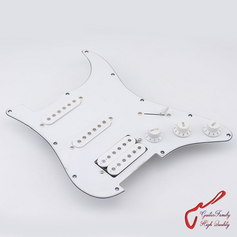 Clearance Sale. Guitar Family Prewired Loaded Pickguard SSH White. ( #1269 ) musiclily 3ply pvc outline pickguard for fenderstrat st guitar custom