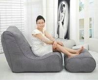 Cinza poliéster saco de feijão sala com pufe ao ar livre conjuntos de mobiliário de jardim sofá
