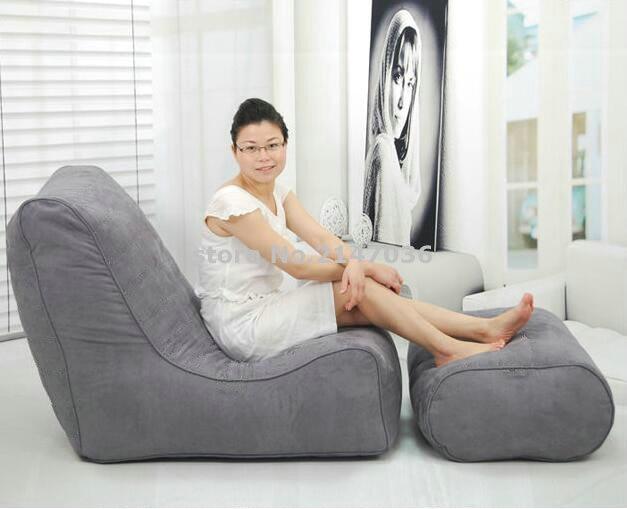 Grey polyester bean bag lounge with ottoman outdoor furniture sets garden sofa