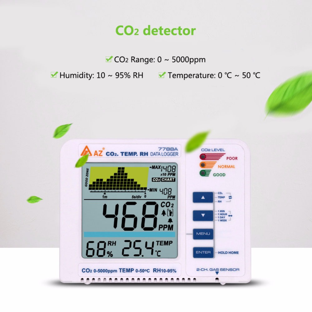 Newest 3 in 1 Desktop Carbon Dioxide Datalogger Range 9999ppm Indoor Air Quality Temperature RH AZ7788A CO2 Gas Detector Meter