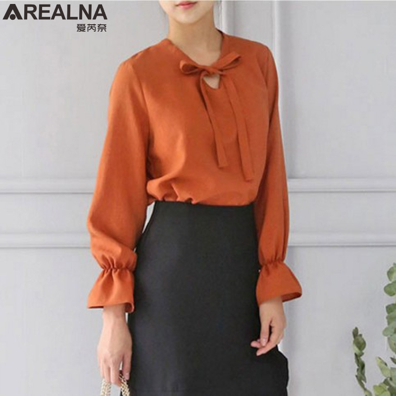 2017 Autumn Women Blouses OL office blouse Long Sleeve shirt women Tops Casual Bowknot Ladies Shirts Blusas Plus Big Size 4XL