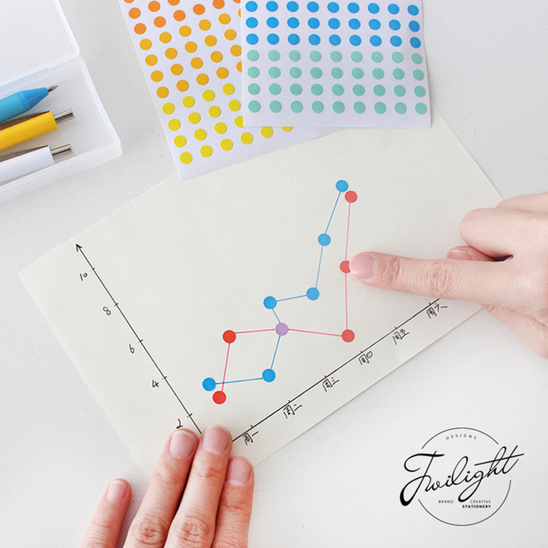 6 Sheets/lot Color Dots Paper Sticker DIY Scrapbooking Diary Album Sticker Post Stationery School Supplies