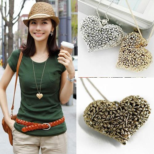 Vogue Antique Silver/Bronze/Gold 3D Big Hollow Heart Long sweather Chain Necklace Pendant