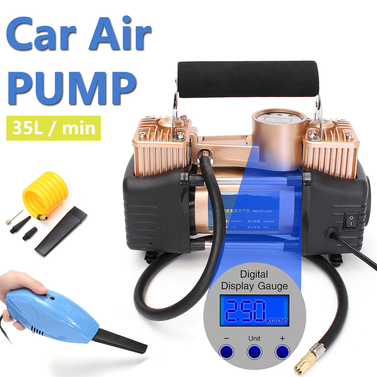 12V Portable Digital Car Air Tire Compressor Double Cylinder Heavy Duty 150PSI Tyre Pressure Inflator Pump + Vacuum Cleaner 2 in 1 multifunction tire inflator air compressor w vacuum cleaner yellow dc 12v