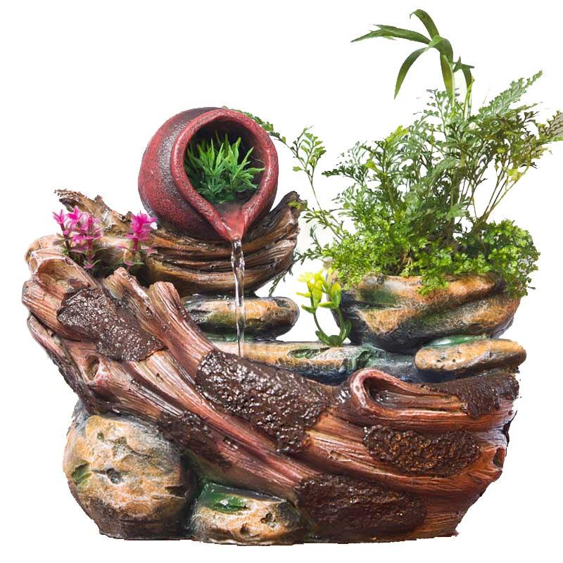 Micro Paysage Décoratif Décoration D'intérieur En Pot Succulentes Ameublement Rocaille Fontaine D'eau Fengshui Résine Décoration