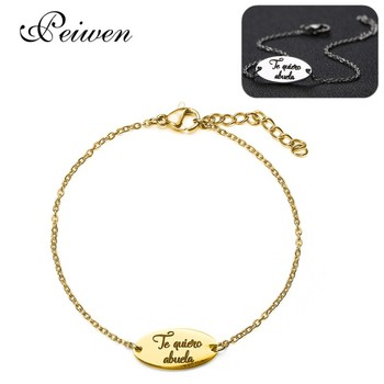 Spanish Te quiero abuela Pendant Bracelet For Women Grademother Stainless Steel Rose Gold Silver Color Bracelets Jewelry Gifts image