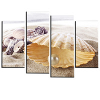 4 Panels Pearl Shells Painting Modern Picture Print Artwork For Living Room Decoration Cuadros Decoracion Unframed