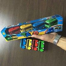 כיף 4 יח\סט Tayo הקטן אוטובוס מיני פלסטיק למשוך בחזרה כחול Tayo אדום גני צהוב לאני ירוק Rogi אוטובוס רכב דגם לילדים מתנה
