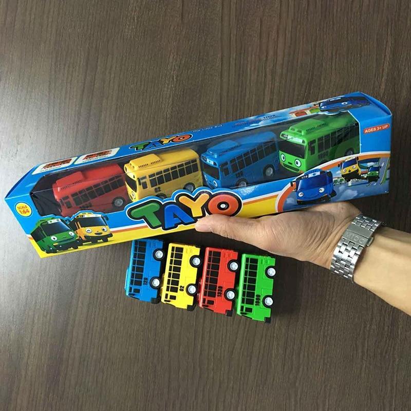 Fun 4pcs/set Tayo The Little Bus Mini Plastic Pull Back Blue Tayo Red Gani Yellow Lani Green Rogi Bus Car Model For Kids Gift