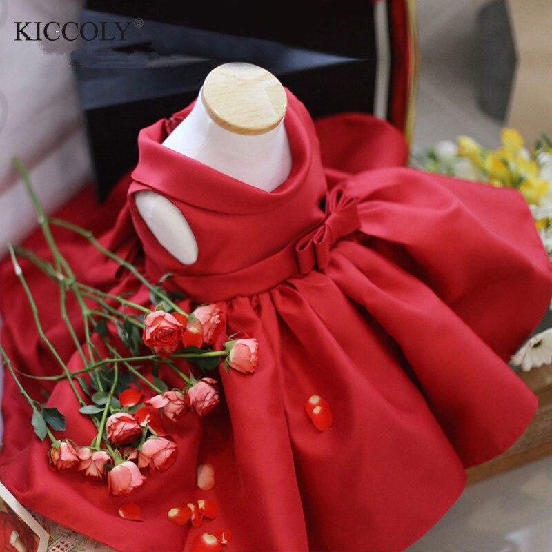 Tulle rouge robe nouveau-né bébé fille robe de baptême arc d'été 1 an anniversaire tenues de bébé baptême fête robes de mariée