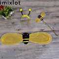 Imixlot 3Pcs/Set Bumble Bee Wings Masquerade Party Performance Props Antenna Headband Flower Wand Costume Fairy for Child