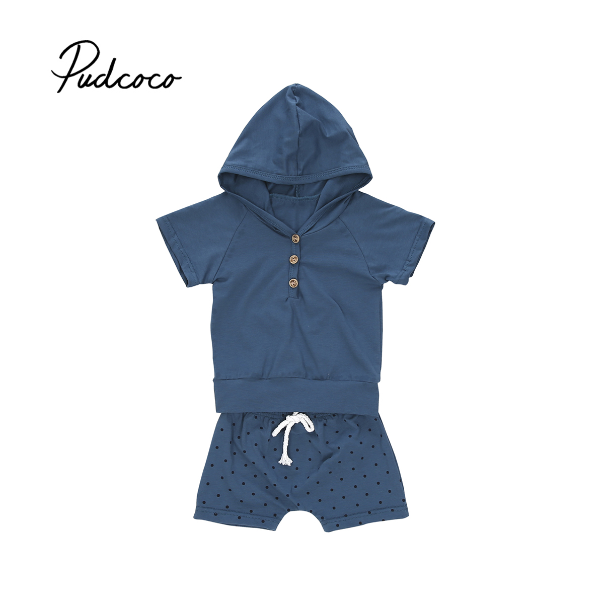 Pudcoco 2Pcs Toddler Baby Boy Girl Infant Summer Hooded T-shirt Tops + Dot Shorts Pants Children Outfits Cothes Set