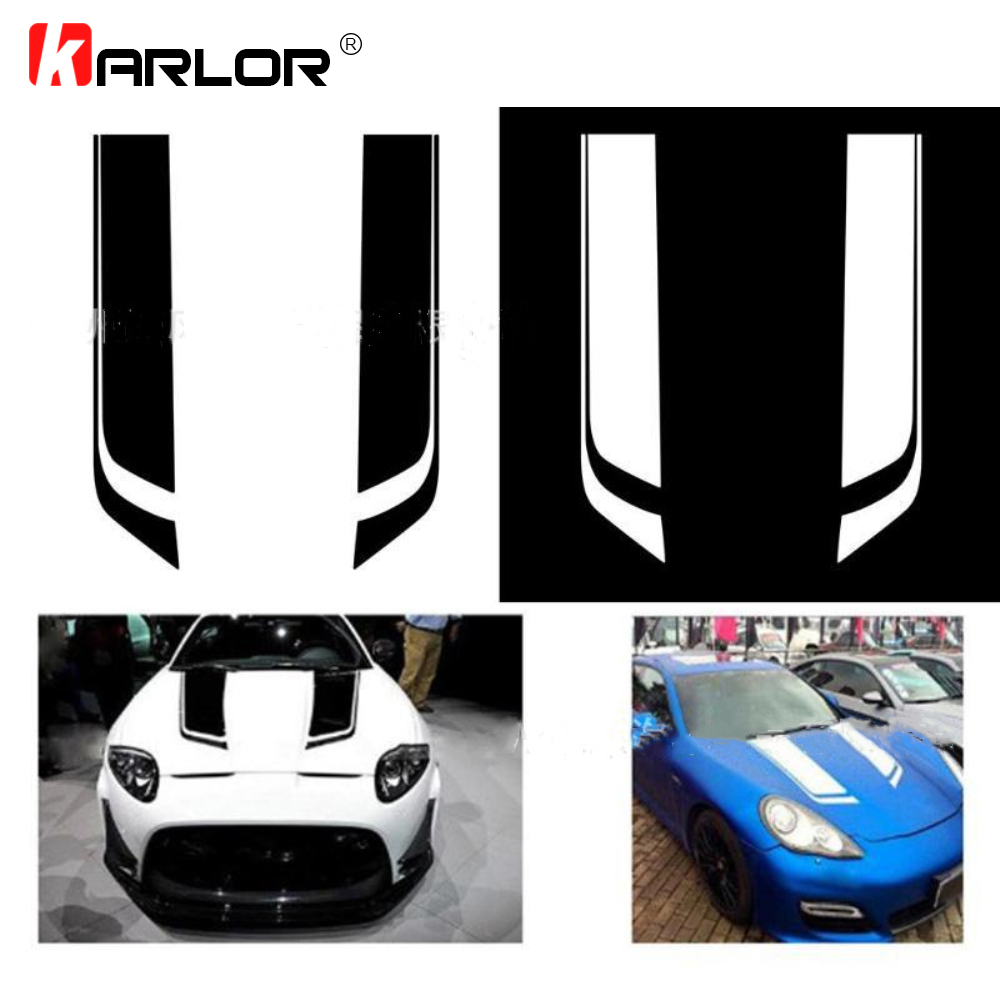 2PCS/Set 85*24cm Auto Car Hood Stickers Car Cover Decoration Racing Car Sport Stripe PVC Decals Vinyl For Car Auto Accessories