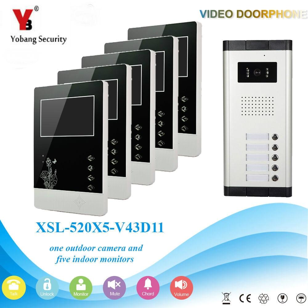 Yobang Security 4.3 Inch Video&Audio Intercom For 5 Units Home Security Video Apartment Security Camera Door Phone Doorbell