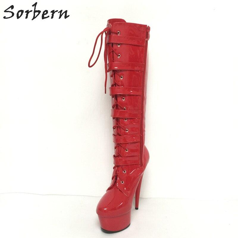 Femme Personnalisé 15 Boucles forme Couleurs Long Punk Enveloppé Dames Rouge 44 Black rouge Sorbern Talon 5 Style Haute Plate Chaussures Cm Boot Brillant 0wm8vNn