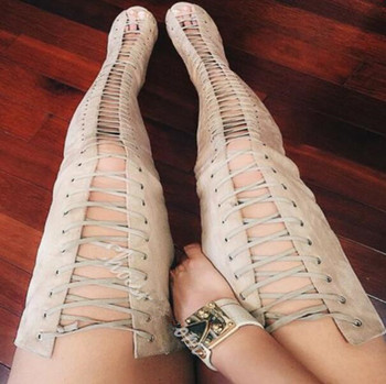2017 Spring beige color cross-tied lace up over the knee high boots super high heels peep toe gladiator sandal boots